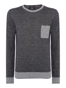 Linen Mix Jumper With Contrast Pocket