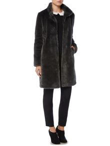 Faux fur funnel coat