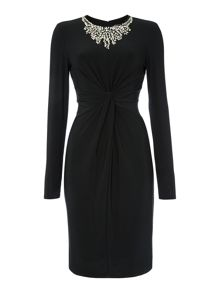 Embellished neck dress with front knot detail