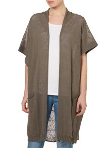 Knitted long cardigan with short sleeve