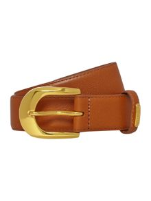 Leather belt with embossed strap