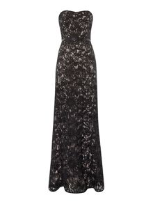 JS Collections Strapless corded lace gown with sweetheart neck