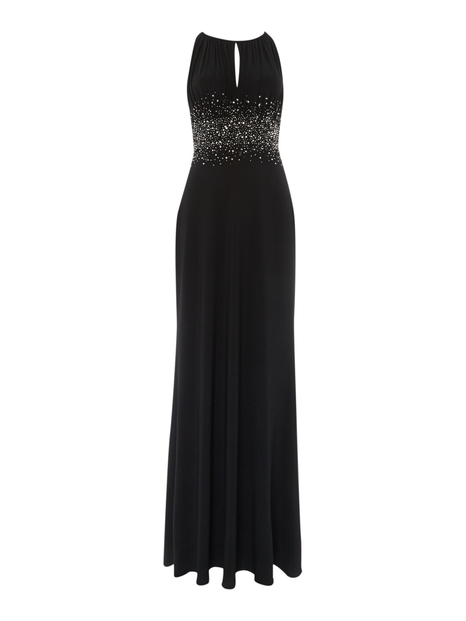 JS Collections Jewel waist keyhole maxi dress, Black