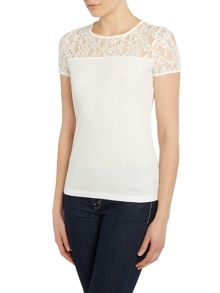 Short sleeve crew neck top with lace neck detail
