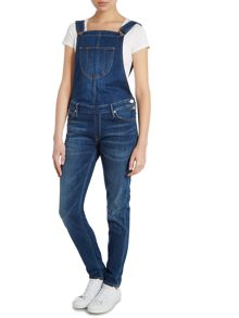 Bib front full length dungarees in blue mountains