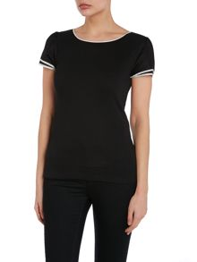 Top with stripe sleeve detail
