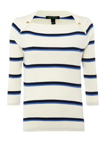 3/4 sleeved boat neck top with stripe