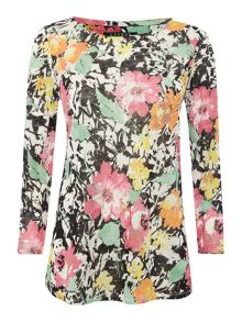3/4 sleeved top with floral print