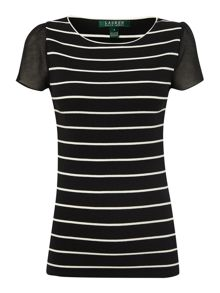 Short sleeve top with stripe