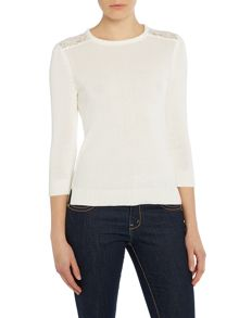 3/4 sleeve crew jumper with lace shoulder