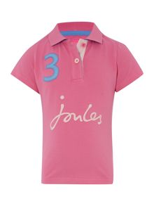 Girls pique number polo