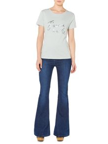 La Vie Slogan Scoop Neck Top