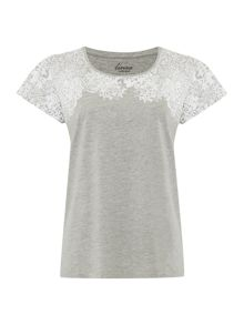 Mosiac Yoke Scoop Neck Top