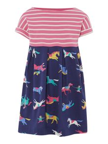 Girls stripe with horse print jersey dress