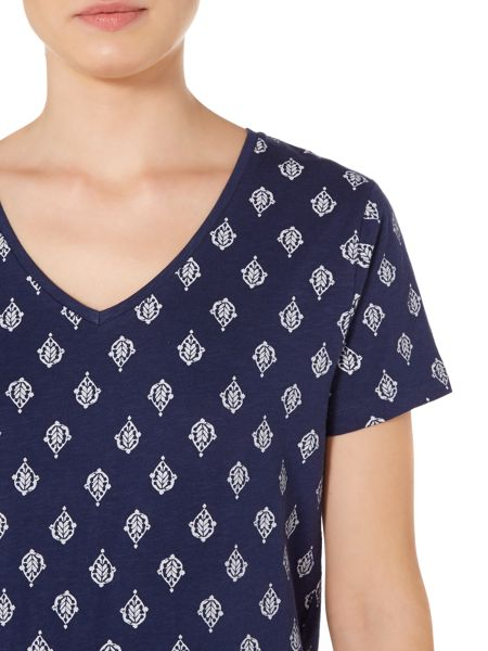 Linea Weekend Leaf Print V Neck Top
