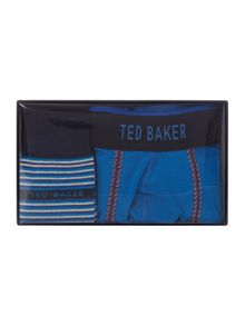 Boxer and stripe sock in a box