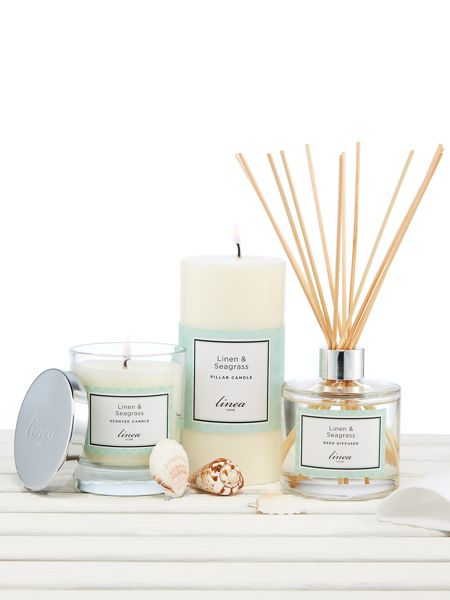 Linea Linen & Seagrass Single Candle