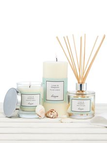 Linea Linen & Seagrass Pillar Candle