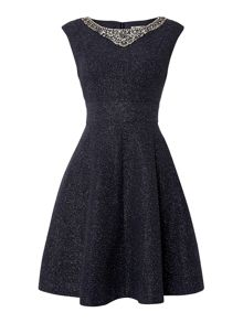 Eliza J Jersey Fit and Flare Embellished Dress