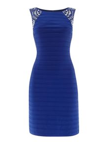 Eliza J Pintuck bodycon dress with beaded shoulder detail