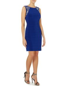 Pintuck bodycon dress with beaded shoulder detail