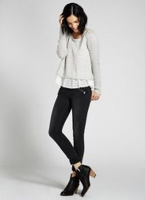 Dove Embroidered  Mesh Knit