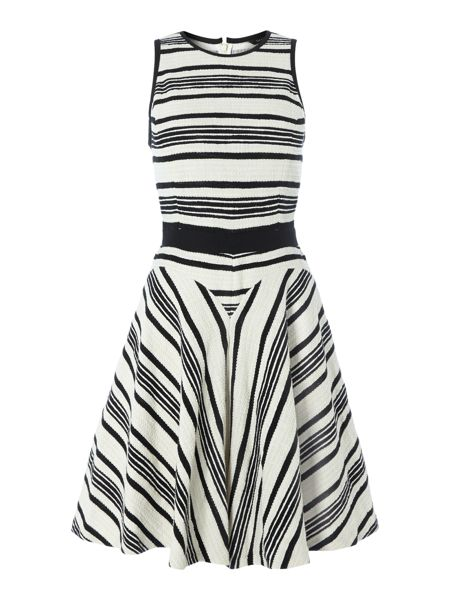 Tara Jarmon Stripe sleeveless fit and flare dress