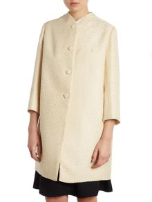 Spot texture collarless coat