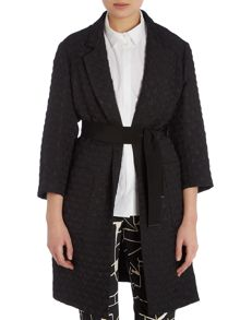 Textured lapelled coat