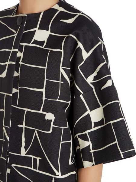 Tara Jarmon Graphic print collarless coat