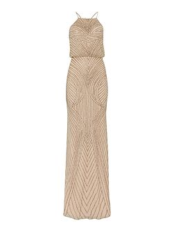 Adrianna Papell Blouson beaded gown with halter neckline