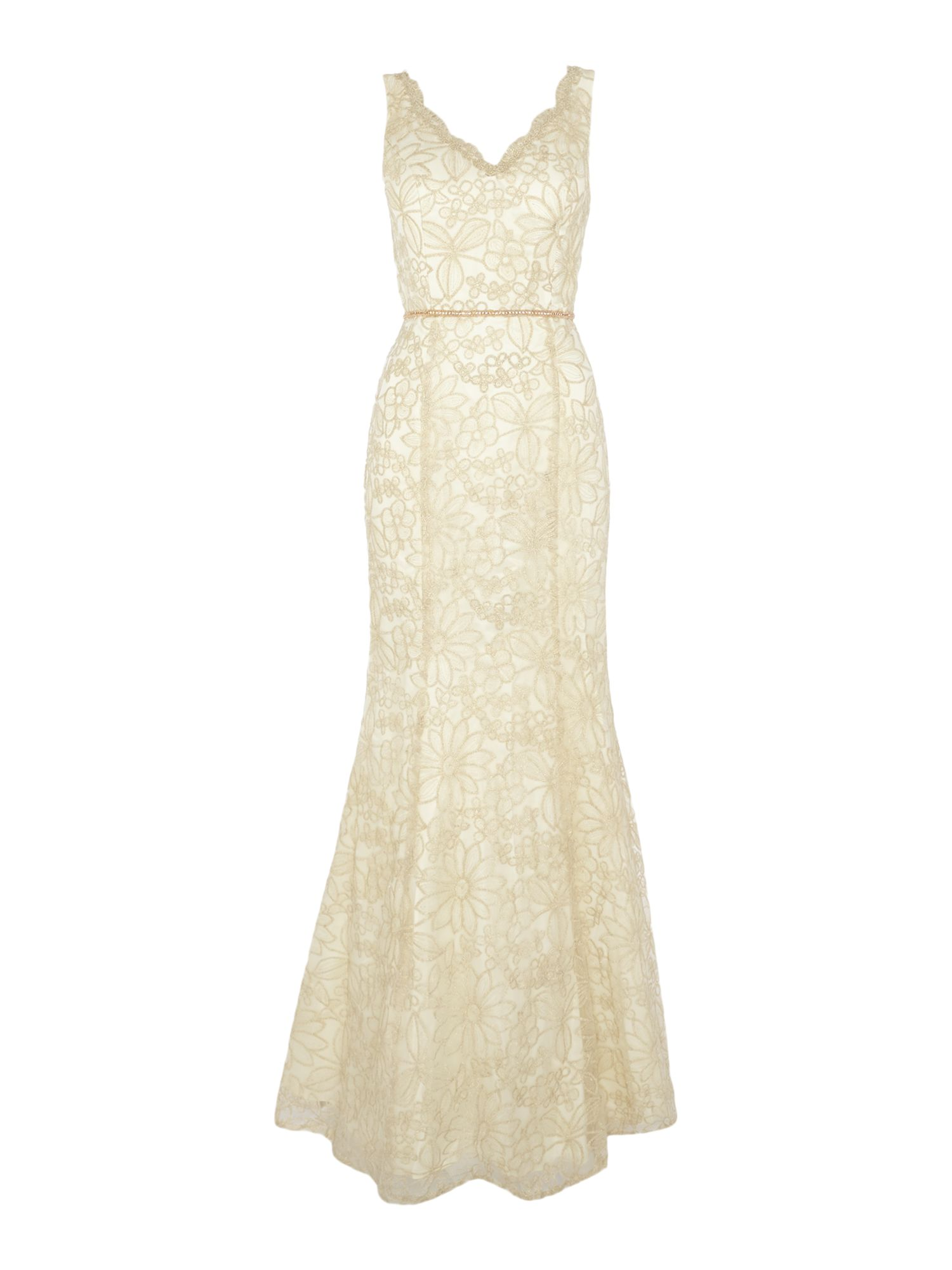 JS Collections Daisy Lace Evening Dress Champagne £125.00 AT vintagedancer.com