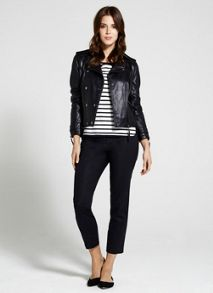 Navy Leather Stud Biker Jacket