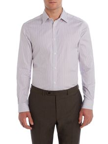 Corsivo Walter Stripe Tailored Fit Long Sleeve Shirt