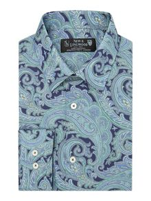New & Lingwood Milfoil Print Tailored Fit Long Sleeve Shirt