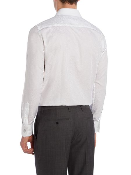 New & Lingwood Jacquard Tailored Fit Long Sleeve Shirt