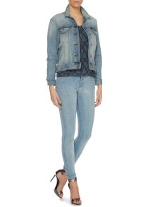 Long sleeve bianca denim jacket in super lt stone