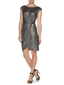 Drape jersey metallic dress