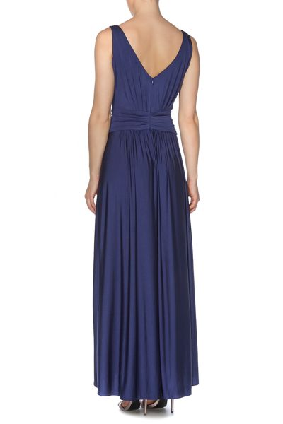 Biba Pleat detail full skirted maxi dress