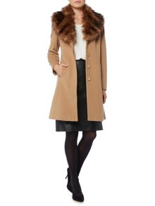Linea Wool/Cashmere faux fur collar coat