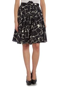 Graphic printed A line skirt