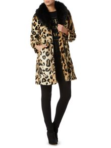 Detachable faux fur collar leopard print coat