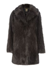 Speckle faux fur portobello coat