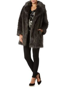 Biba Speckle faux fur portobello coat