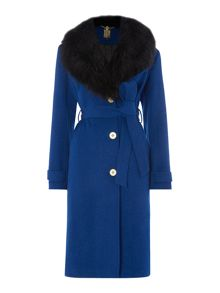 Biba Detachable faux fur collar wrap wool mix coat