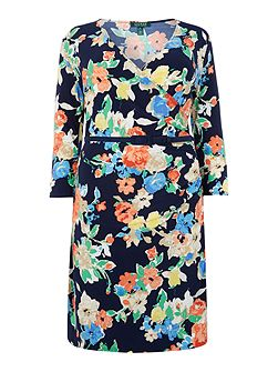 Plus Size Vea wrap printed dress