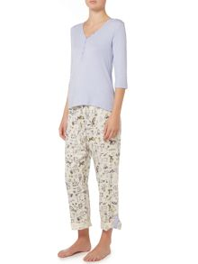 Dickins & Jones Nancy Garden Notebook Print Turnback Cuff Pj Set