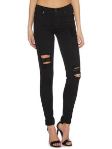 Regina 5 pocket skinny in black destroyed jean