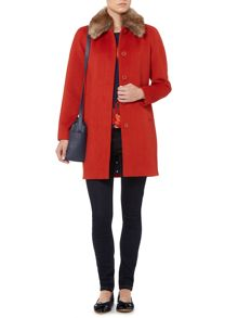 Faux fur collar peacoat