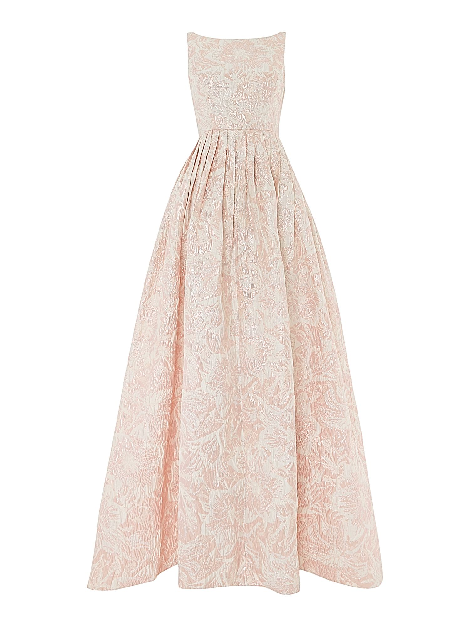 Adrianna Papell Floral Fit and Flare Jacquard Maxi Dress Pink £160.00 AT vintagedancer.com